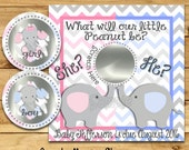 Gender Reveal scratch off cards Baby Pregnancy announcement cards Elephant gender game Baby boy Baby girl he she favors 12 Precut Printed