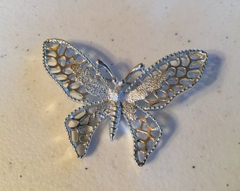 Sarah Coventry Butterfly Silver Brooch lot 94
