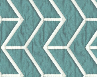 Lightly Quilted Washable Transitional Bedding Fabric - Slight Sheen - Reversible Contrast - Pattern: Wingtip Caribbean - per yard