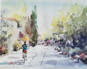 "Cyclist, street scene, architecture. - Original Watercolor Painting 12"" x 16""."