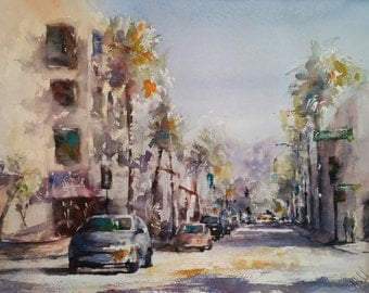 "California, street scene, architecture. El Molino and Colorado, Old Town Pasadena - Original Watercolor Painting 12"" x 16""."