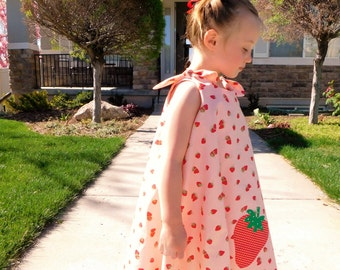 Twirl dress, coral, pink, green strawberry designer fabric sun dress, strawberry applique, shoulder ties baby toddler girl tween 2T - 10