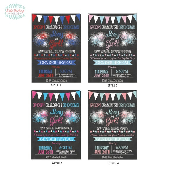 May The 4th Be With You Invitations: Items Similar To Fourth Of July Fireworks Gender Reveal