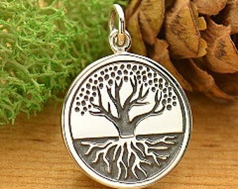 Sterling Silver Etched Tree of Life with Roots Charm - Rooted Tree, Family Tree, Tree of Life, Gift for Mom, New Mom, Grandmother, Grandma