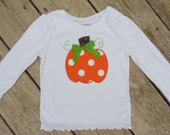 Girl's Toddlers Personalized Orange Polka Dot Pumpkin Shirt