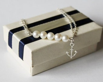 Beach Wedding Bracelet, Real pearl and anchor bracelet, Sterling Silver, bridesmaid bracelet, Anchor bracelet, Nautical, Navy