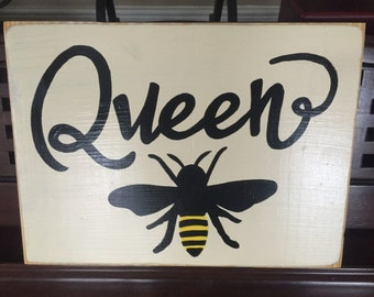 Queen Bee Home Wall Decor Sign Plaque Apiary Rustic Cottage Farmhouse Hand Painted Wooden U Pick