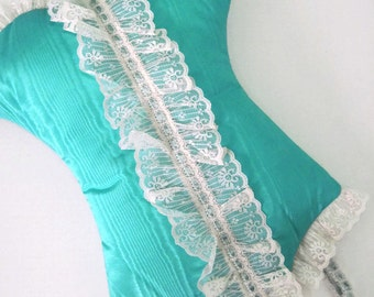 Turquoise Corset Pillow Pajama Holder Pantyhose Holder