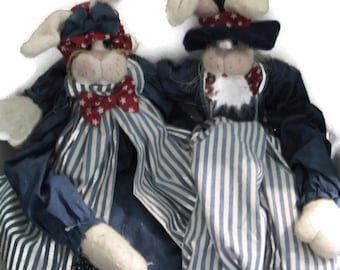 Bitsy Ross Uncle Sam Soft Sculptured Rabbits