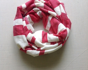 Red cotton scarf-Red & white stripe cotton scarf-  Red scarf for women and men-  ethiopian scarf shawl stole bufand echarpe- Accessories -