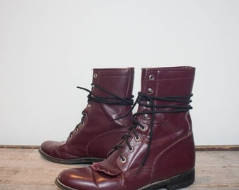 Make An Offer 7.5 B  | Women's Diamond J Justin Lacers Burgundy Lace Up Roper Boots