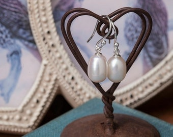 White Oval Pearl Drop Earrings