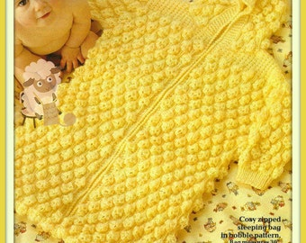 PDF Knitting Pattern for a Babies Zip Up Sleeping Bag/Bunting or Cocoon - Instant Download