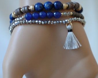 Tassel bracelet, Wooden beads and blue bead Bracelet, Stretch Bracelet, Layered Bracelet, Gift for her, Set of 3 bracelets, Holiday Gift