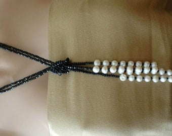 SALE - Bib Necklace, Crystal and pearl Lariat, White pearl Necklace, Gift for her, Lariat Necklace, Black and white lariat necklace