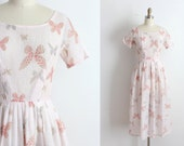 vintage 1950s L'Aiglon dress // 50s pink Butterfly print dress