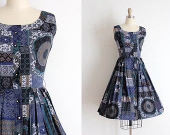 vintage 1950s dress // 50s cotton mid century print day dress