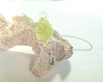 Glass Pendant, Ice Crystal Pendant, Necklace Pendant, Sea Glass Jewelry, Lime Small