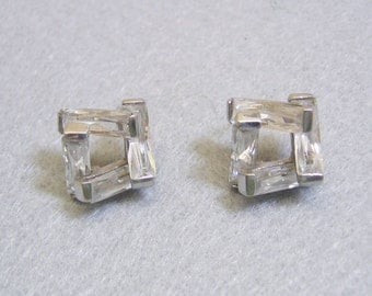 Faceted Crystal Pierced Earrings, Geometric Shape, Gorgeous