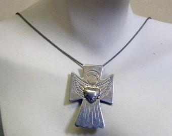 Sterling Angel Cross Pendant and Chain, Vintage, 18 Inch Chain