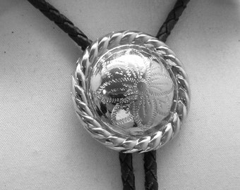 Vintage Silver Plated  Rosette Bolo Tie