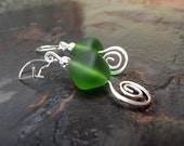 Green Sea Glass Earrings:  Emerald Drop Earrings, Silver Spiral Dangle Earrings, Spring Green Beach Wedding Jewelry, Prom Accessory