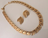 Signed Crown Trifari Vintage Decorative Leaf Collar Necklace and Clipon Earrings
