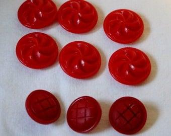 Red Buttons Vintage lot Nine 9 buttons Pinwheel Design