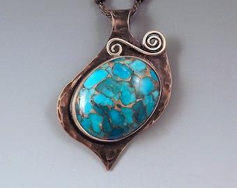 Turquoise- Smoky Bronze Patina- Metal Art Necklace