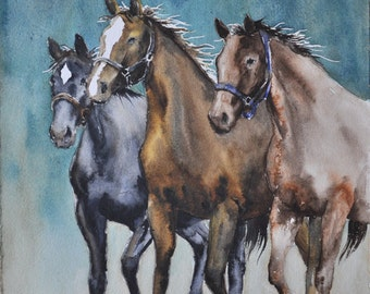 Equestrian Art, Horse painting - Watercolor cowboy art, equestrian original watercolor on paper