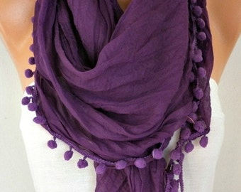 Purple Cotton Pompom Scarf, Fall Scarf, Cowl Scarf, Gift Ideas For Her, Women Fashion Accessories,christmas gift