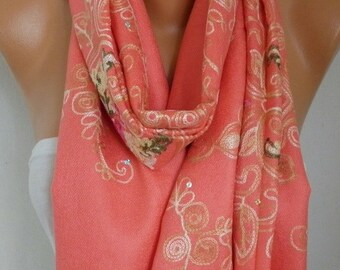 Coral Embroidered Scarf,Fall Shawl, Wedding Scarf,Bridal Scarf,Oversized, Bridesmaid Gift, Gift Ideas For Her, Women Fashion Accesssories
