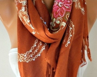 Burnt Orange Embroidered Scarf,Fall Winter Shawl, Cowl, Bridesmaid gift, Gift Ideas For Her, Women Fashion Accessories,Christmas Gift