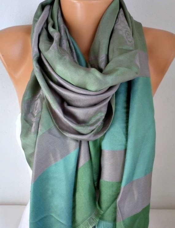 Green & Gray Scarf, Wedding Shawl, Cowl, Oversized Wrap,Bridal Accessories,Bridesmaid Gift, Gift Ideas For Her, Women Fashion Accessories