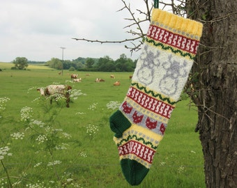 Knit Cow Christmas Stocking Holiday Xmas Handknit Stocking Fair Isle (Ready to Ship) Ornament Decoration Modern Christmas YLR