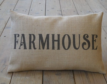 FARMHOUSE Word burlap Pillow | Farmhouse Pillows | French Country | INSERT INCLUDED