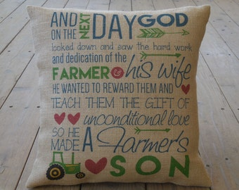 Farmer's Son burlap Pillow | Farmhouse Pillows | French Country | INSERT INCLUDED
