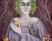 Woman, Mother Earth, Earth's Bounty, Harvest, Owl, Original Painting, Archival Print, Home Decor