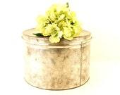 "Vintage Silver Metal Chips Tin, 12"" diameter (c.1940s) - Collectible Snack Tin, Storage Canister, Gift Box"