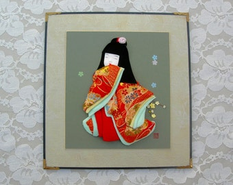 Adorable Japanese Girl 3-dimensional picture for Girls' Day, hand-crafted, real kimono fabric, collectible