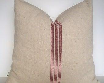 Farmhouse Pillow, Grainsack Red Pillow Cover Red Stripe Grain Sack Pillow Red Farmhouse Pillow