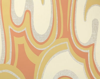 Retro Wallpaper by the Yard 70s Vintage Wallpaper - 1970s Orange Yellow and Cream Swirl