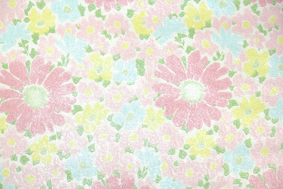 Vintage Wallpaper by the Yard 70s Retro Wallpaper - 1970s Pink Daisies and Pastel Pink Yellow and Blue Flowers