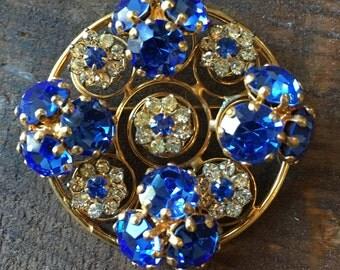 Stunning vintage blue rhinestone brooch