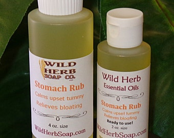 Stomach Rub for Upset Tummy, Nausea Relief, Gas, Indigestion, Bloating, Sour Belly; All Natural Health Aid