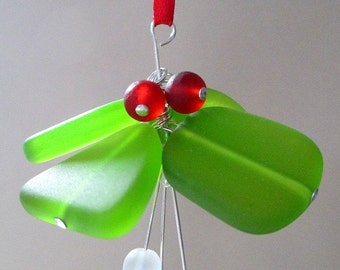 Mistletoe Ornament ~ Coastal Christmas Decor ~ Sea Glass Ornament ~ Nautical Christmas ~ Ocean Beach Christmas Decor ~ Beach Glass Ornament