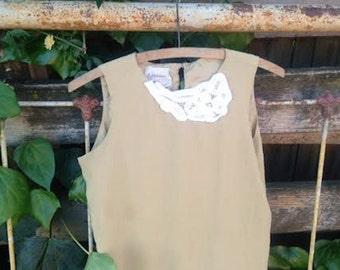 simple funky fairy silk lace ecru latte beige natural eco boho gypsy romantic shabby prairie top blouse