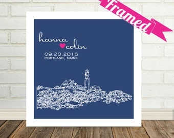 Portland Maine Print Unique Engagement Gift City Skyline Art Personalized FRAMED ART Any City Available Bridal Shower Gift for Bride