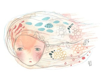 Whimsical girl illustration, original gouache painting, cute girl art