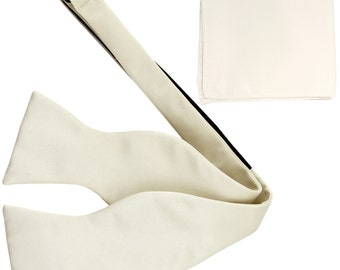 Men's Solid Ivory Self-Tie Bowtie and Handkerchief, for Formal Occasions